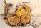 Mörser, Aquarellmalerei, Apfel, Grafik